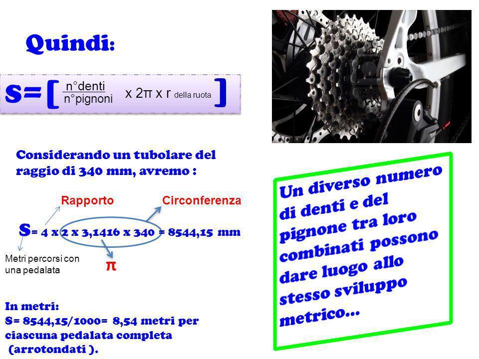 Quindi: S=[ ] n°denti. x 2π x r della ruota. n°pignoni. Considerando un tubolare del raggio di 340 mm, avremo :
